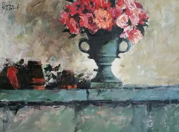 Rose Tones Over Mantle 2004 42x35 Original Painting - Aldo Luongo