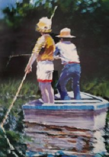 Summer Fishing 1983 51x41  Huge  Limited Edition Print - Aldo Luongo