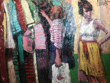 Outdoor Market 1991 53x41 Original Painting - Aldo Luongo