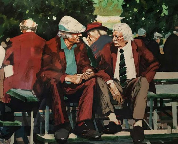 Two Men Siting on a Bench AP 1992 Limited Edition Print by Aldo Luongo