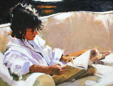 Story By the Light 2006 41x50  Huge Original Painting - Aldo Luongo
