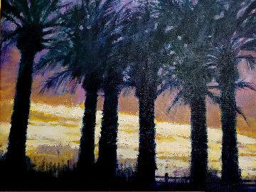 Santa Monica Silhouette 2004 33x39 Original Painting - Aldo Luongo