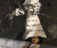 Guys Night Out  1990 42x47  Huge Original Painting by Aldo Luongo - 0