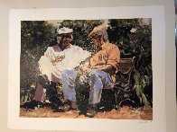 A Glass of Red, a Little Sun And Big Stories Embellished Limited Edition Print by Aldo Luongo - 1