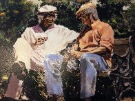 A Glass of Red, a Little Sun And Big Stories Embellished Limited Edition Print by Aldo Luongo - 3