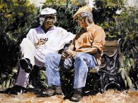 A Glass of Red, a Little Sun And Big Stories Embellished Limited Edition Print by Aldo Luongo - 0