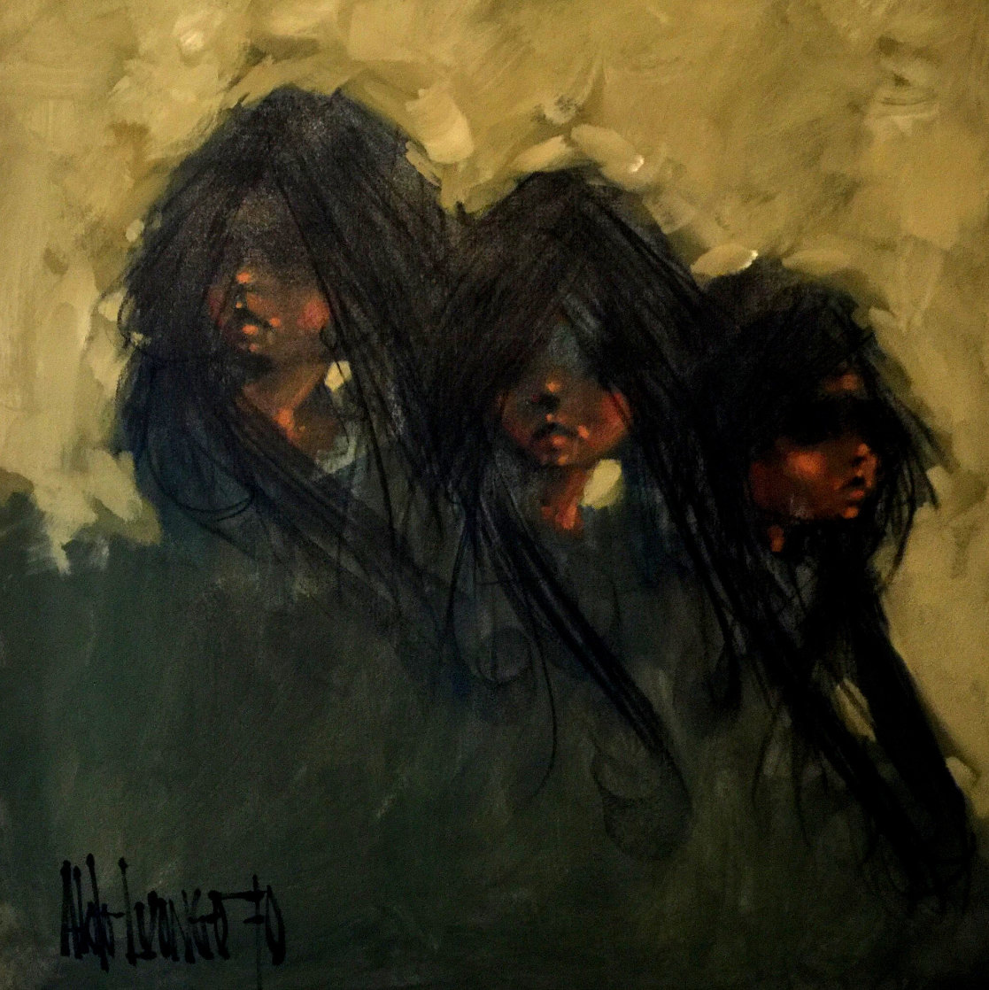 We Three 1970 38x38 Original Painting by Aldo Luongo