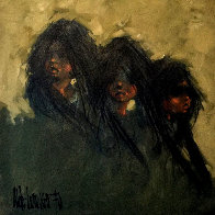 We Three 1970 38x38 Original Painting by Aldo Luongo - 0
