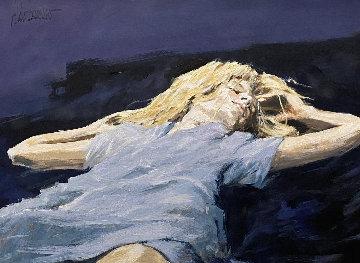 Soft Blues And Purple Dreams 32x40 Original Painting by Aldo Luongo