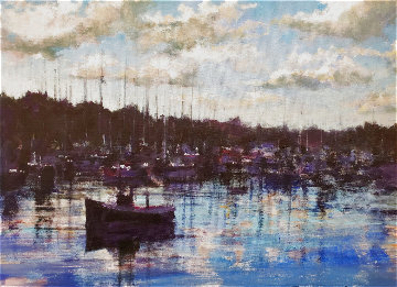 Boats in Harbor 2003  30x36 Original Painting - Aldo Luongo