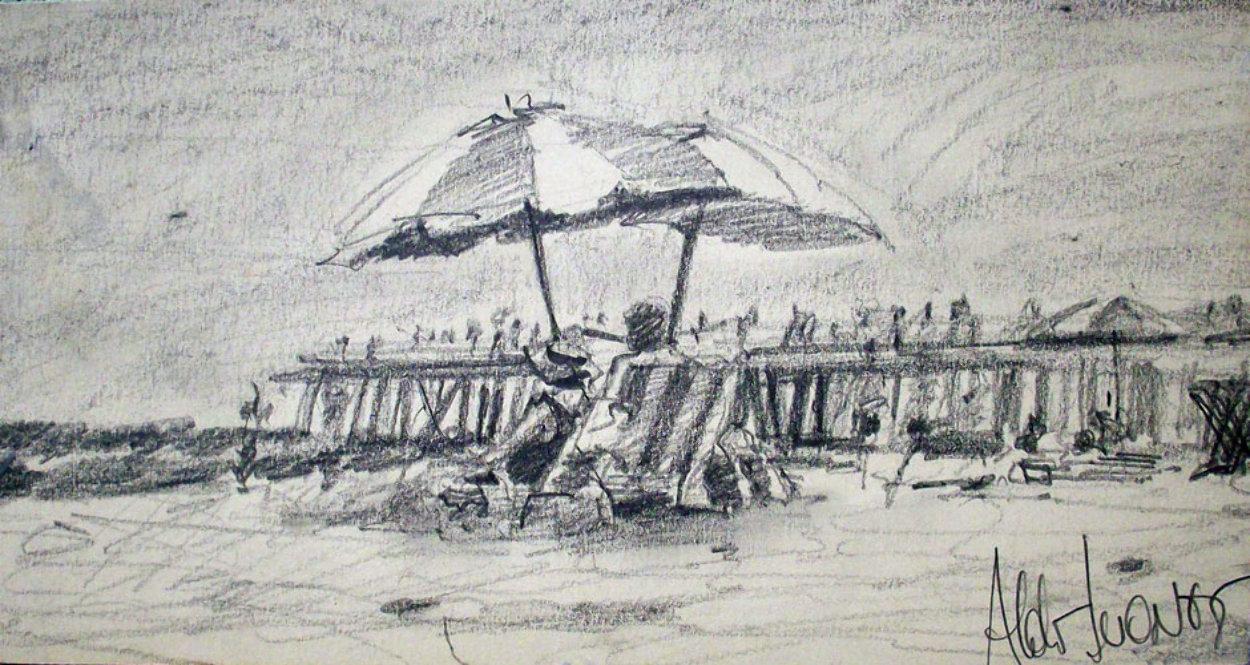 California Beach Drawing 1978 Drawing by Aldo Luongo