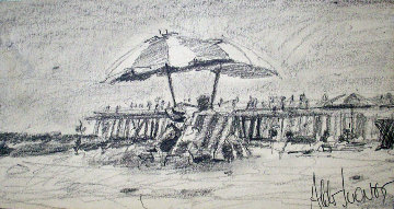 California Beach Drawing 1978 Drawing - Aldo Luongo