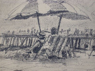 California Beach Drawing 1978 Drawing by Aldo Luongo - 1