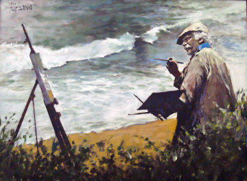 Watercolors in Laguna Beach (The Hawk) 2004 30x40 Original Painting - Aldo Luongo