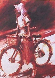 Girl on Bicycle 1993 Limited Edition Print by Aldo Luongo