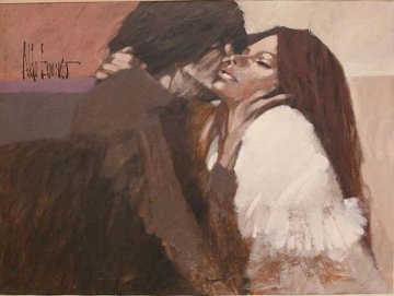 First Kiss 1970 54x42 (Early) Original Painting by Aldo Luongo