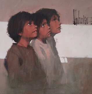 Geography Lesson 1973 39x39  Very Early Painting Original Painting - Aldo Luongo