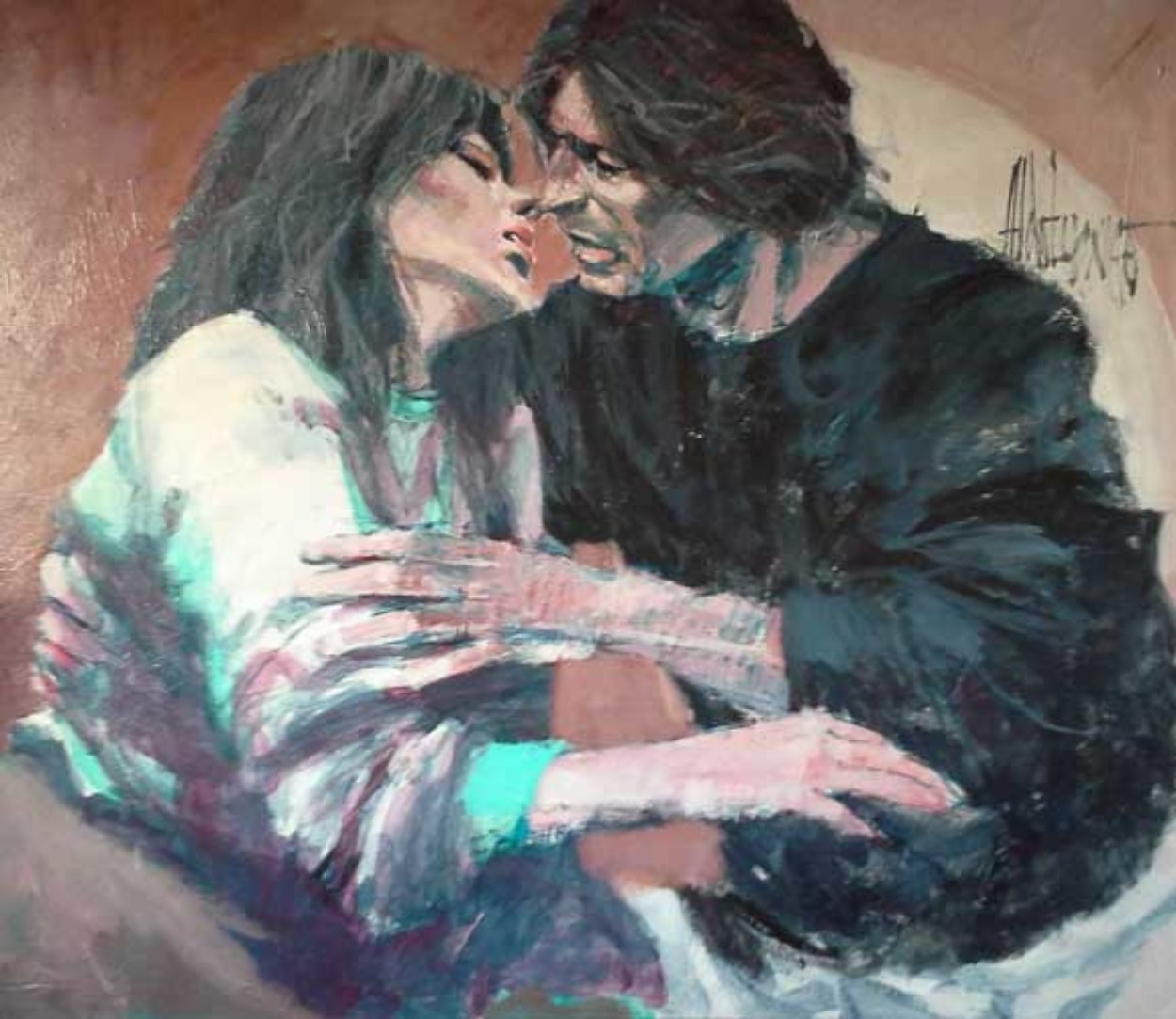 Untitled Couple 1970 early work 48x52 Original Painting by Aldo Luongo