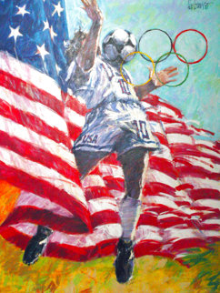 American Team Soccer 1996 36x48 Super Huge Original Painting - Aldo Luongo