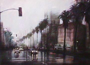 Rainy Day on Wilshire - LA - Ca Limited Edition Print by Aldo Luongo