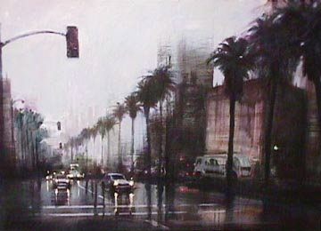 Rainy Day on Wilshire - LA - Ca Limited Edition Print by Aldo Luongo