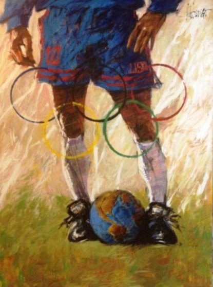 Where the World Comes to Play 1996 (Soccer) 36x28 Original Painting by Aldo Luongo
