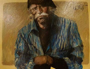 Blue Shirt 1978 42x54 (Hawk) Original Painting - Aldo Luongo