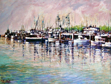 Untitled Painting  (Harbor) 45x57 Original Painting by Aldo Luongo