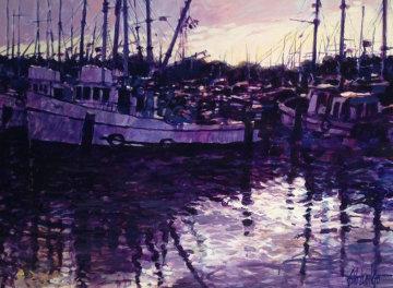 Atardecer En Olivos 1984 47x60 Original Painting - Aldo Luongo
