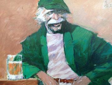 Hawk 1990 46x36 Huge Original Painting - Aldo Luongo