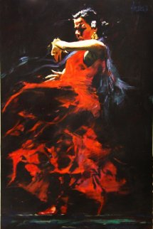Fire 39x26 Original Painting - Aldo Luongo