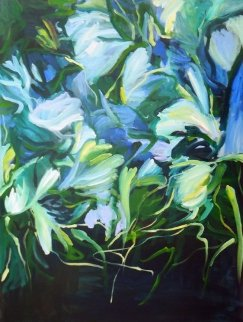 Night Garden 2014 40x30 Original Painting by Lydia Miller