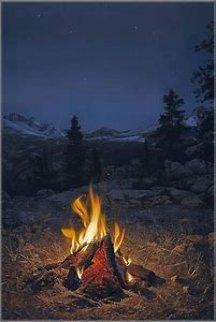 Mountain Campfire 1989 Super Huge Limited Edition Print - Stephen Lyman