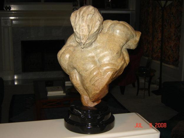 Gymnast Bust 1/2 Life Size Bronze Sculpture 1996 Sculpture by Richard MacDonald