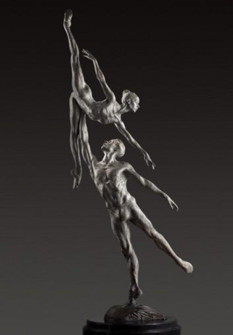 Penche Pressage 41 x 18 x 10.5  Platinum  2010 Sculpture by Richard MacDonald