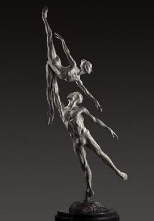 Penche Pressage 1/3 Life Size Platinum and  1/4 Life Chroma Sculpture 2011 Sculpture - Richard MacDonald