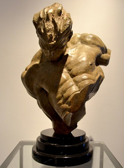 Gymnast Bust 1 2 Life Size Bronze Sculpture 1995 19 In By