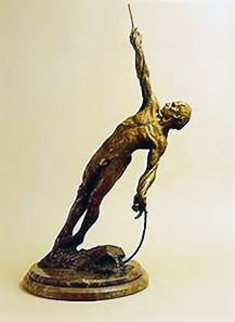 Man on a Rope Bronze Sculpture 2002 36 in Sculpture - Richard MacDonald