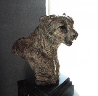 Samburu Cheetah Large Bust Bronze Sculpture 1996 23 in Sculpture - Richard MacDonald