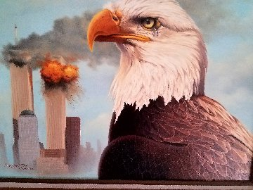 Eagle Never Forgets (Twin Towers) 18x24 Original Painting - Rob MacIntosh