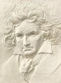 Beethoven Bonded Sand Sculpture 1984 40x31 Sculpture - Bill Mack