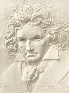 Beethoven Bonded Sand Sculpture 1984 40x31 Super Huge Sculpture - Bill Mack