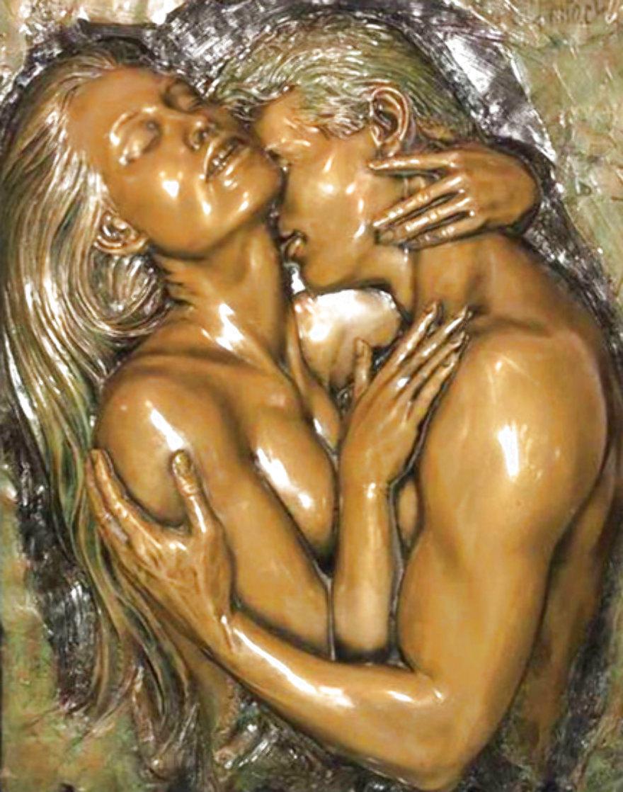 Embracing Bronze Sculpture 2005 24x18 Sculpture by Bill Mack
