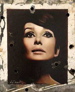 Sophisticate Beauty, Audrey Hepburn Hollywood Sign 2008 30x24 Original Painting - Bill Mack