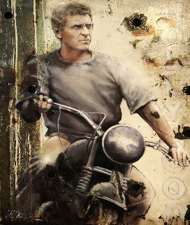 Grand Getaway, Steve McQueen Hollywood Sign 2009 Original Painting by Bill Mack