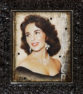Elizabeth Taylor Hollywood Sign 2015 50x44 Original Painting - Bill Mack