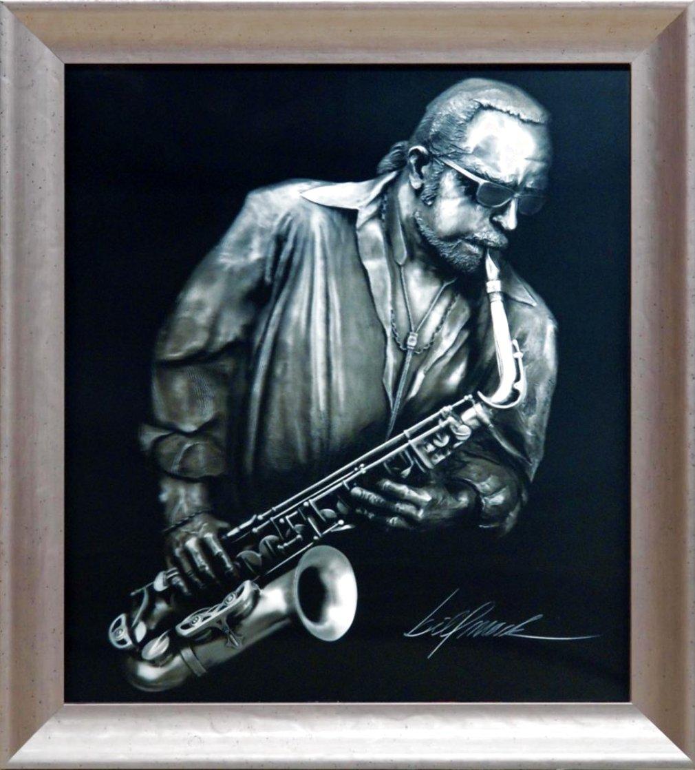 Jazzman Virtual Relief Sculpture TP 2007 34x31 Sculpture by Bill Mack