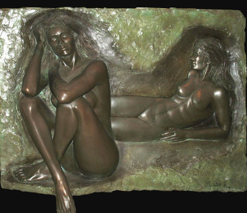 Reflection Bonded Bronze Sculpture 1987 36x49 Sculpture - Bill Mack