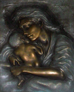 Caring Mother and Child Bronze Sculpture 2005 Sculpture by Bill Mack