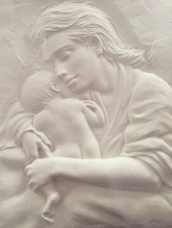 Mother And Child Bonded Sand 2002 24x18 Sculpture - Bill Mack